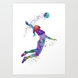 Volleyball Girl Colorful Blue Purple Watercolor Artwork Art Print