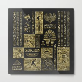 Egyptian  hieroglyphs and symbols gold on black leather Metal Print