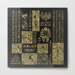 Egyptian  hieroglyphs and symbols gold on black leather Metal Print