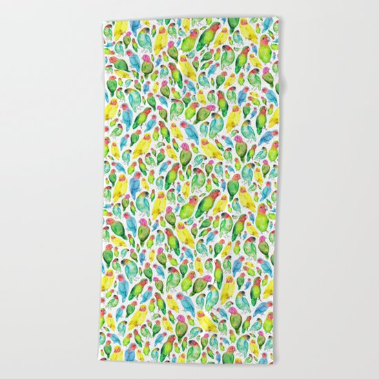 Love Birds Pattern Beach Towel