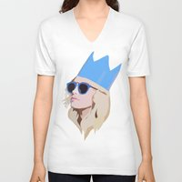 queen V-neck T-shirts featuring Queen by Anna McKay
