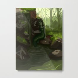 Water nymph by the waterfall Metal Print