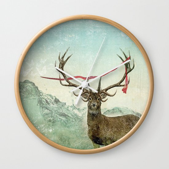 hold deer, tsunami Wall Clock