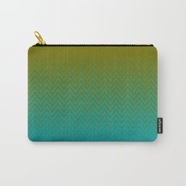 gradient chevron pattern aqua olive Carry-All Pouch