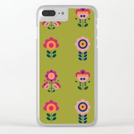 Seamless pattern with cute colorful flowers in scandinavian style Clear iPhone Case