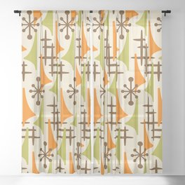 Retro Mid Century Modern Atomic Wing Pattern 426 Brown Orange and Olive Green Sheer Curtain