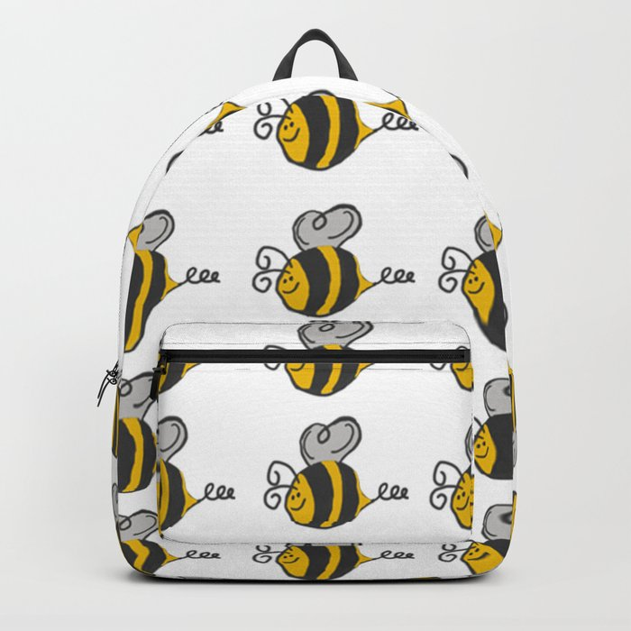 Hand drawn black yellow stripes cute honey bee illustration Rucksack