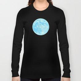 Moon Portrait 4, Blue Moon Long Sleeve T-shirt