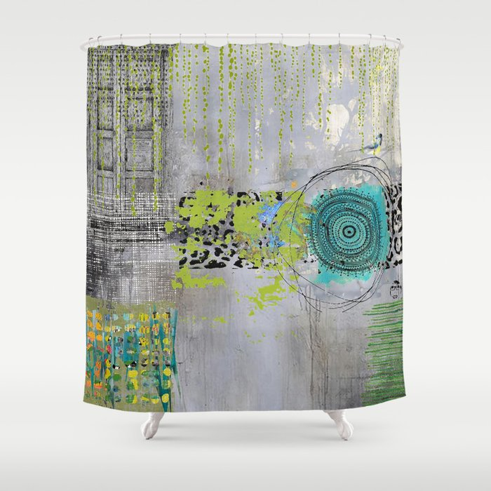 Teal Lime Round Abstract Art Collage Shower Curtain By Shereejoy