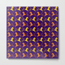 Horse Nation Purple Gold Metal Print