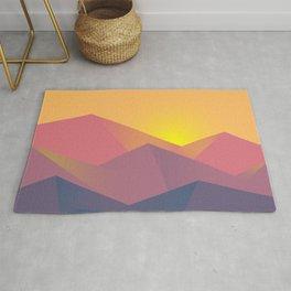 Mountain Sunset Illustration Rug