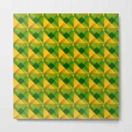 Optical cruciform rectangles of yellow squares in the dark. Metal Print