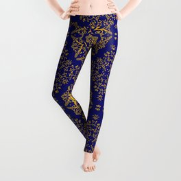 golden mandala pattern on the dark blue background Leggings