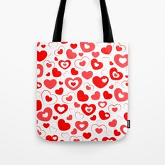 Red and White Hearts In Hearts Tote Bag