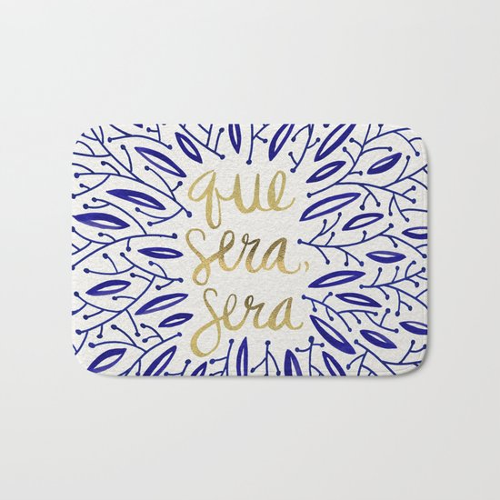 Whatever Will Be, Will Be – Navy & Gold Bath Mat