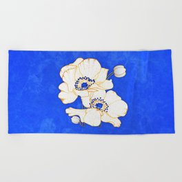 Ultramarine Blue :: Anemones Beach Towel