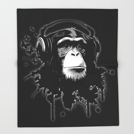 Monkey Business - Black Throw Blanket