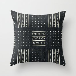 Mud cloth in black and white Throw Pillow