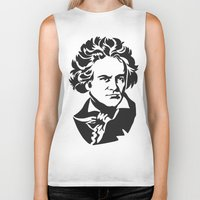 beethoven Biker Tanks featuring Beethoven by b & c