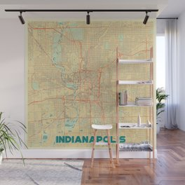 Indianapolis Map Retro Wall Mural