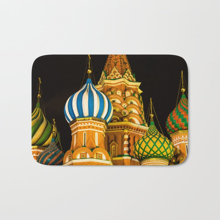 Domes of St. Basil's Cathedral on red square Bath Mat
