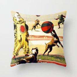 Barnum and Bailey Circus Football Dogs Throw Pillow