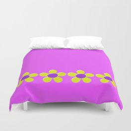 Spring Daisies Jelly Art - Lavender Yellow Pink Duvet Cover