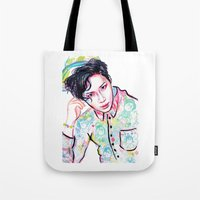 shinee Tote Bags featuring SHINee Taemin Colorful by sophillustration