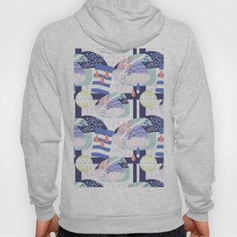 Navy blue abstract geometrical hand painted pattern Hoody