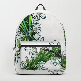 Snow drop flowers, green tourmaline crystals and garnet holiday wreath Backpack