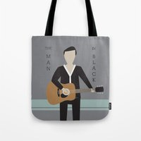 johnny cash Tote Bags featuring Johnny Cash by Sarah Duet