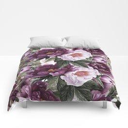 Purple Plum Pink Watercolor Peonies and Greenery Comforters