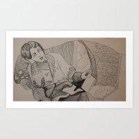 oscar wilde Art Prints featuring Oscar Wilde Author Portrait by Wicked Ink