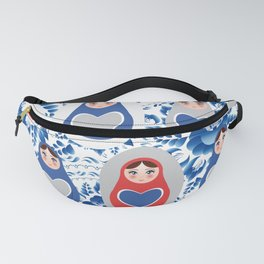 blue red gray Russian babushka dolls on a floral background Fanny Pack