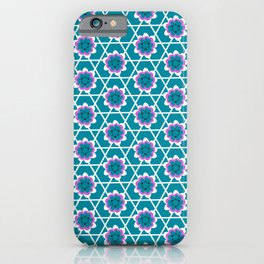 LATTICE bright turquoise magenta garden repeat pattern iPhone Case