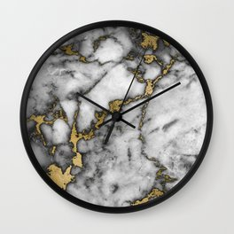 Faux marble Stone Gray Tones Gold Accent Wall Clock