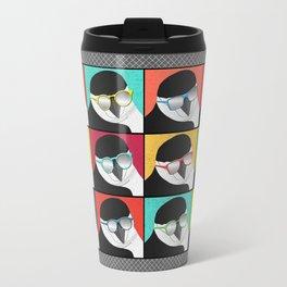 Chinstrap Penguins Pop Art vertical digital paper collage Travel Mug