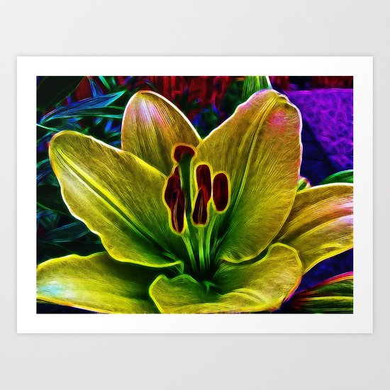 BrightYellow Lily Art Print