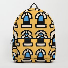 New York Windows Pattern 261 Yellow and Blue Backpack