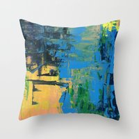 miami Throw Pillows featuring Miami by Mande Gaffney
