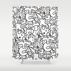 Black & White Blobs Shower Curtain