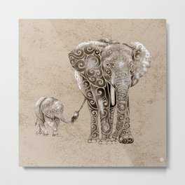 Swirly Elephant Family Metal Print