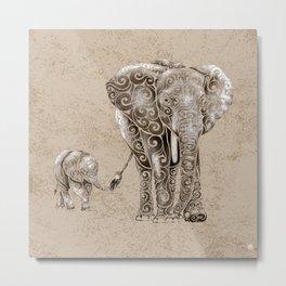 Swirly Elephant Family Metal Print