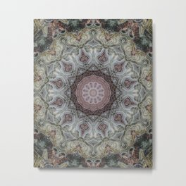Mandala in beige and brown tones Metal Print