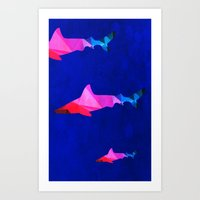 sharks Art Prints featuring Sharks by Cullen Rawlins