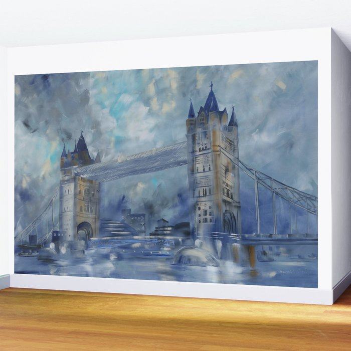 London Bridge 110x160 Cm Large Impressionism Acrylic Painting On Unstretched Canvas S049 Art By Arti Wall Mural