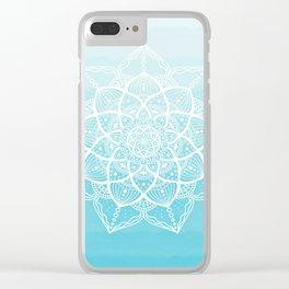 Blue white mandala Clear iPhone Case