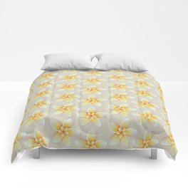 Yellow Flower, Floral Pattern, Yellow Blossom Comforters