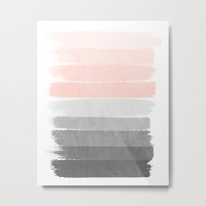 Color story millennial pink and grey transition brushstrokes modern canvas art decor dorm college Metal Print
