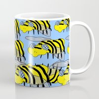 bees Mugs featuring Bees by David Abse